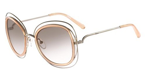 Chloe Women's Carlina Gold/Transparent Peach Sunglasses