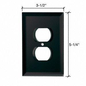 CRL Duplex Plug Back Painted Glass Cover Plate - Black GPP2BL
