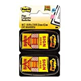Flags in Dispenser, ''Sign Here'', Yellow, 12 50-Flag Dispensers/Pk