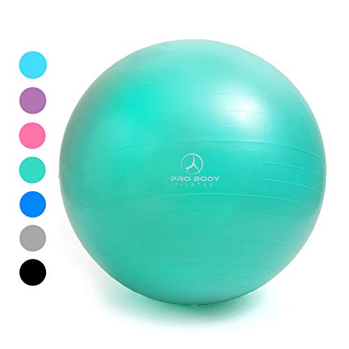 Exercise Ball - Professional Grade Anti-Burst Fitness, Balance Ball for Pilates, Yoga, Birthing, Stability Gym Workout Training and Physical Therapy (Aqua (No Pump), 65 cm)