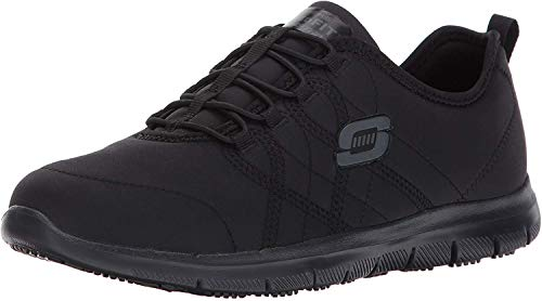 Skechers for Work Women's Ghenter Srelt Work Shoe, Black, 7.5 M US