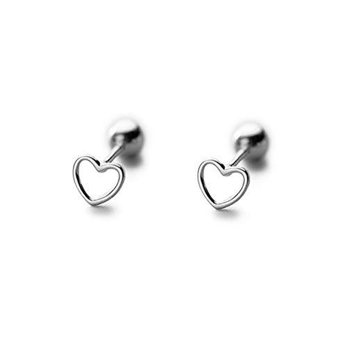 Earrings Sterling Shape Silver Heart (Hollow Heart Shape Stud Earrings Sterling Silver Gold Plated Minimalist Tiny Screwback Studs Earring for Sensitive Ears Women Girls (Silver))
