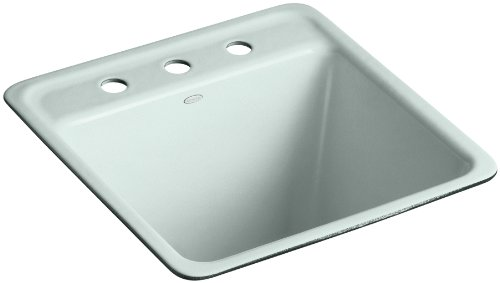 Kohler K-6655-3U-FE Park Falls Undercounter Sink with Three-Hole Faucet Drilling, Frost - Cast Iron Laundry Sink