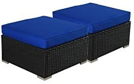 Outime Patio Furniture PE Black Rattan Sofa Set 2pcs Ottoman Sofa Garden Wicker Sectional Sofas Conversation Sets-Easy Assembled Royal Blue Cushion