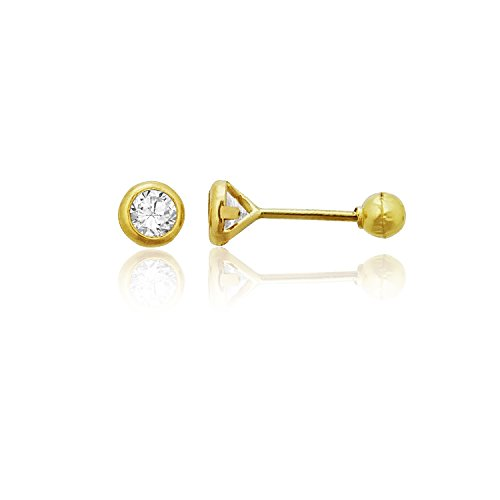 Decadence Women's 14k Yellow Gold Basic Round Bezel 3mm Hat Screw Back Stud Earrings ()