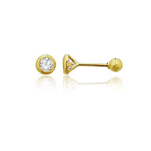 Decadence Women's 14k Yellow Gold Basic Round Bezel 3mm Hat Screw Back Stud Earrings