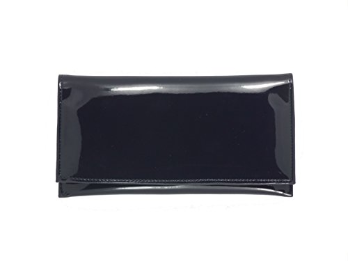 LONI Womens Wallet Clutch Bag Matinee Purse Coin Pouch Patent Faux Leather in Navy ()
