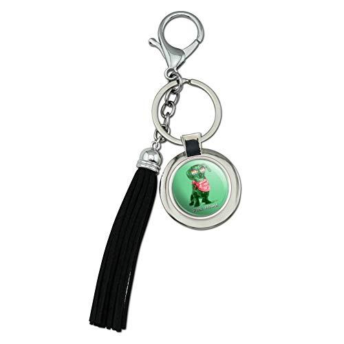 Dock Hound Dachshund Wiener Dog Sunglasses Vintage Retro Chrome Plated Metal Round Leather Tassel Keychain