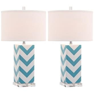 Safavieh Lighting Collection Chevron Stripe Table Lamp, Light Blue, Set of (Lamp Stripes Table Lamp)