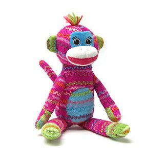 Colorful Sock Monkeys - Mary Meyer Knit Picks Sock Monkey Pink 13