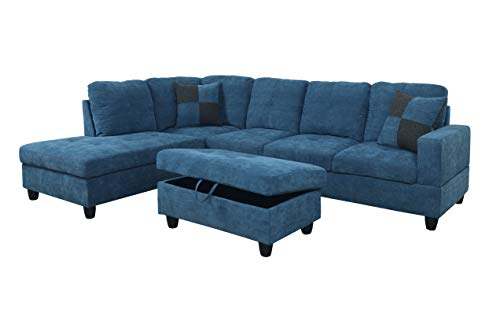 (Home Garden Collections 3 Piece Velvet Contemporary Left-Facing Sectional Sofa Set with Ottoman, 2 Accent Pillows, Blue Product SKU: HF3036LS3)