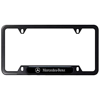 2Pcs Newest Mercedes Benz Logo Custom Personalized 4 Hole Matte Aluminum alloy License Plate Frame with Screw Caps Cover Set,Applicable to US Standard car License Frame,for Mercedes Benz(Matte Black).: Automotive
