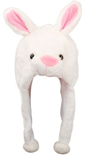 EOZY Adult Fuzzy Hat with Ear Flap Aminal Beanie Cap Costume Set White Bunny