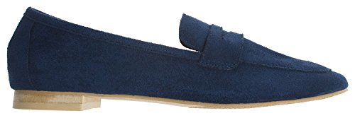 Annakastle Womens Soft Vegan Suede Classic Penny Loafer Slip Ons Platte Schoenen Marine