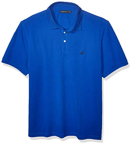 Nautica Men's Short Sleeve Solid Stretch Cotton Pique Polo Shirt, Bright Cobalt XX-Large