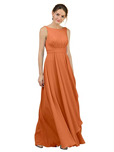 - Alicepub A-Line Chiffon Bridesmaid Dress Long Party Evening Dresses Prom Gown Maxi, Burnt Orange, US14