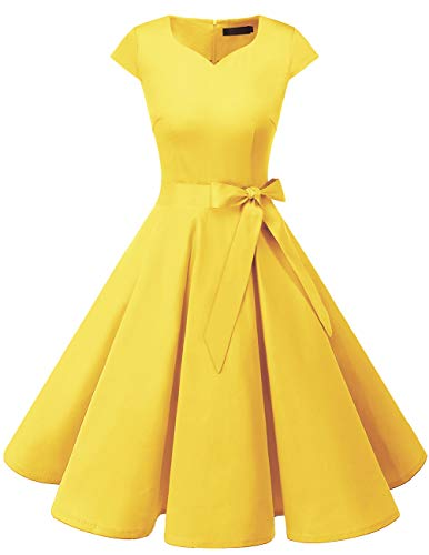 (DRESSTELLS Retro 1950s Solid Color Cocktail Dresses Vintage Swing Dress with Cap-Sleeves Yelllow S)
