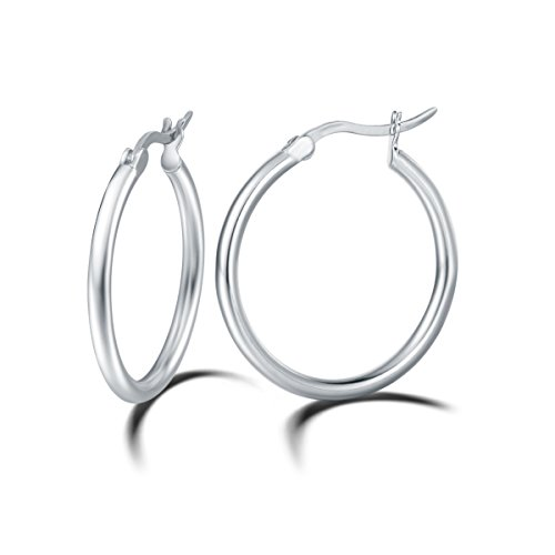 - Carleen 14K White Gold Plated 925 Sterling Silver Dainty Round-Tube Click-Top Hoop Earrings for Women Girls (Diameter 30mm)