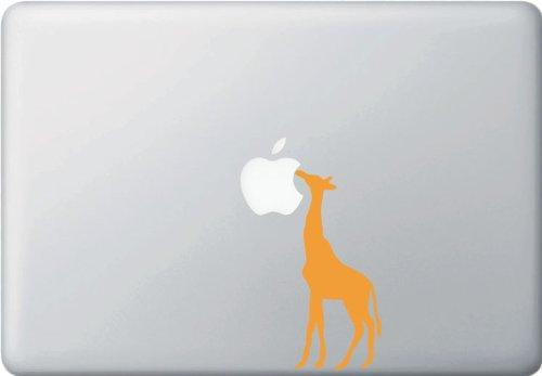 "Yadda-Yadda Design Co. Giraffe Eating Apple - MacBook or Laptop Decal (2"" w x 4.75"" h) (Color Variations Available) (Orange)"