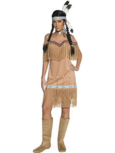 1 PC Women's Native American Indian Lady Tan Fringe Midi Dress Party Costume