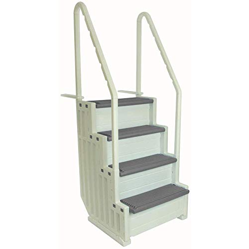 Confer Plastics Above Ground Swimming Pool Ladder   Heavy Duty   White Frame with Grey Steps   Deck Height Up to 60 Inches   Makes Getting in & Out of Pool A Lot Easier