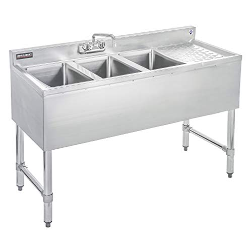 Compartment Bar Sink - DuraSteel 3 Compartment Stainless Steel Bar Sink with 10