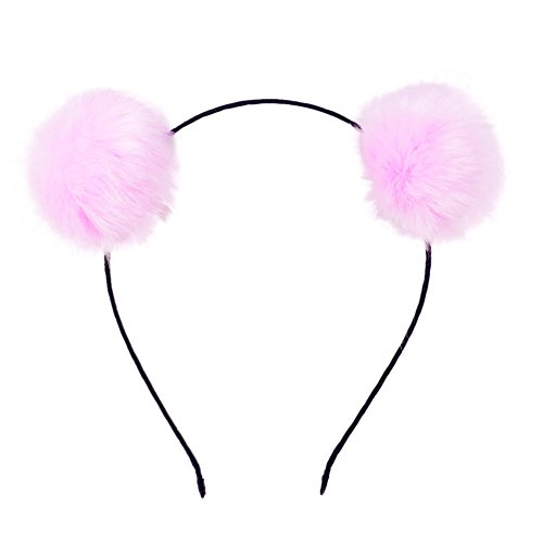 Mwfus Girl's Adorable Fur Ball Pompom Ball Hair Hoops Headbands Pink