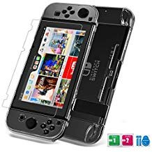 Case for Nintendo Switch Cover Tempered Glass Screen Protector, Set combination, Crystal Clear Easy to Install and Take off, Highly Flexibility hardness Material, Against Bumps