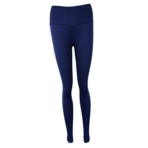Baoblaze Pantalones de Mujer Deportes Entrenamiento Gimnasio Atlético Fitness Yoga Elástica Suave Cómodo Tejido Elástico azul marino