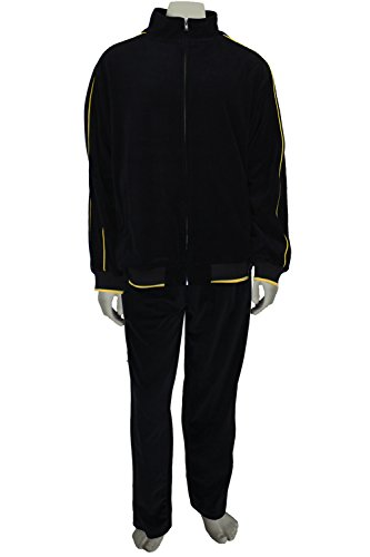 Mens Black Velour Tracksuit with Yellow Piping (Large) by Sweatsedo