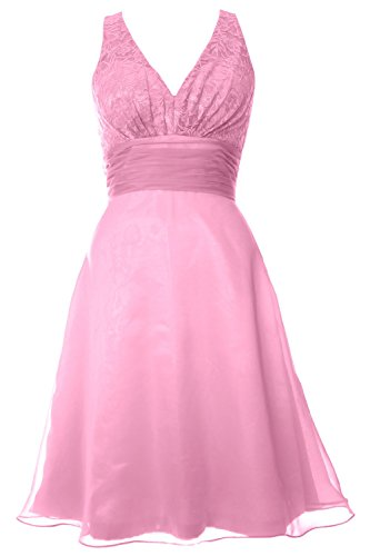 MACloth Women V Neck Chiffon Lace Short Bridesmaid Dress Wedding Party Gown Rosa