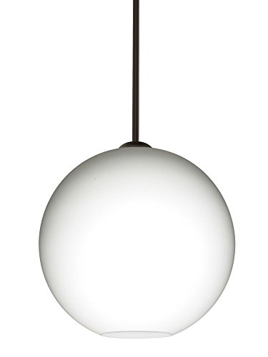 Br Pendant 1 Light Stem (Besa Lighting 1TT-COCO1407-BR Coco 14 - One Light Stem Pendant, Bronze Finish with Opal Matte Glass)