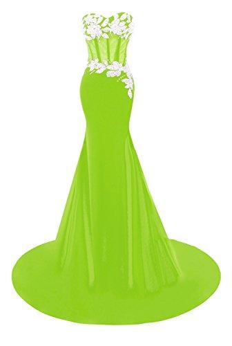 Bess De Mariée Sirène Women's Perles Appliques Robes De Soirée De Bal Citron Vert