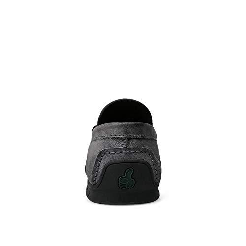 más Deslizamiento de mocasín 46 en EU amplios Casuales Libre de Hombres Cuero Gris Color Ofgcfbvxd para conducción Gris Aire Mocasines Genuino al de Ligero tamaño Zapatos wFYWZ6xXqU