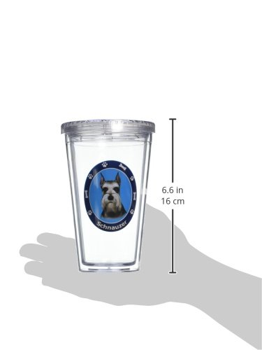 New Schnauzer Insulated 16 Oz Tumbler Double Walled Insulated NIB Screw on Lid by E&S Pets (Image #1)