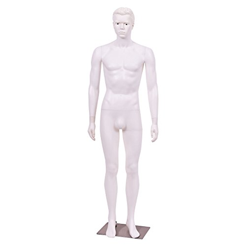 Male Glossy White Plastic Mannequin 6 1 Tall with Base