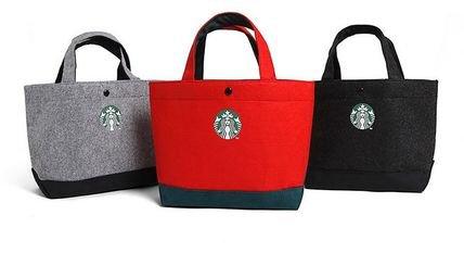 スターバックス 黒 フェルト トートバッグ エコバッグ ランチバッグ サブバッグ かばん 鞄 韓国 台湾 中国 ポーチ スマホケースの商品画像