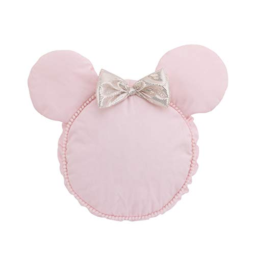 Disney Minnie Mouse Decorative Shaped Pillow with Dimensional Ears & Bow, Pink/Metallic Gold from Disney