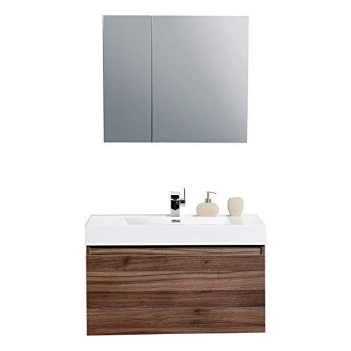 - Aquamoon Venice Modern Bathroom Vanity - Infinity Bathroom Sink - Comes w/Medicine Cabinet and FCUBIC01 Chrome Faucet (31