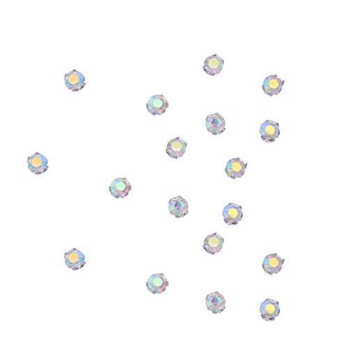 Zijing 100pcs Silver Clear Czech Glass Rhinestone Rose Montees Beads With 4 Holes for Sew On (AB color--100pcs) (Ab Rhinestone Rose)