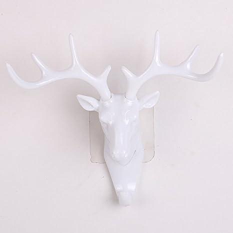 Amazon.com: clásico Cabeza de Ciervo Antlers pared gancho ...