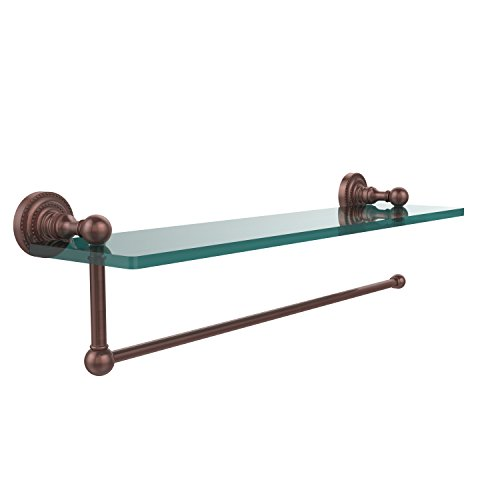 - Allied Brass DT-1PT/16-CA Dottingham Collection Paper Towel Holder with 16 Inch Glass Shelf, Antique Copper