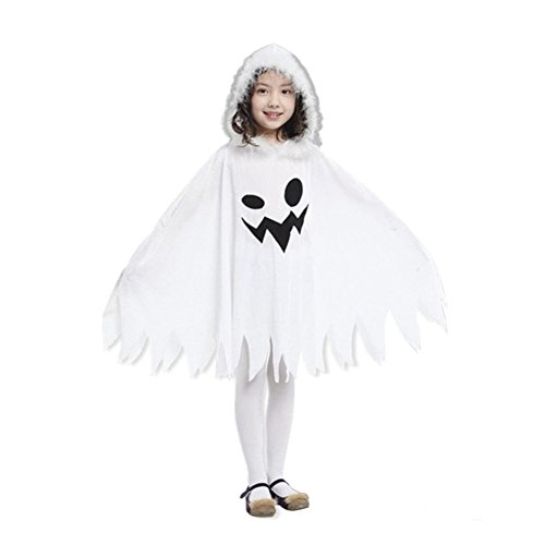 [GRACES]Kids' Unisex White Ghost Halloween Hoodie Play Costume (M, White)