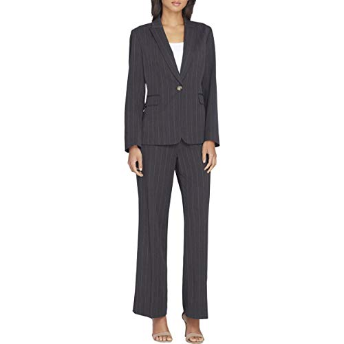 (Tahari Womens Plus One-Button Pinstriped Pant Suit Gray 6)
