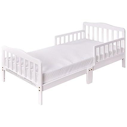 Costzon Toddler Bed, Wood Kids Bedframe Children Classic Sleeping Bedroom  Furniture W/Safety Rail