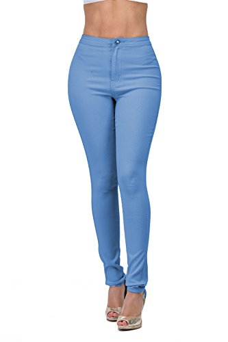 Best Stretch Jeans (LOVER BRAND FASHION High Rise-Waisted Ladies Multi-Color Stretch Skinny Best Colored Jeans Pants for Curvy Women Olive Grey (L, Light AIR))