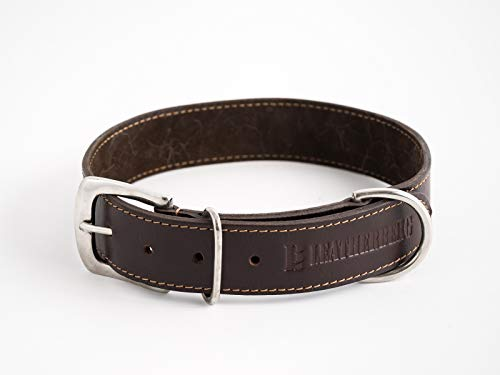 LEATHERBERG Leather Dog Collar Brown - 1.4 Wide Leather Collar Best for Large Dogs (Brown)