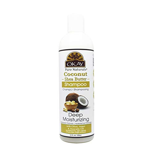 OKAY | Coconut & Shea Butter Shampoo | For All Hair Types & Textures | Fortify - Strengthen - Revitalize | With Olive, Argan & Avocado Oil | Free of Sulfate, Silicone & Paraben | 12 oz