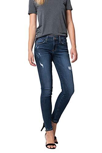 Flying Monkey Weekend Blues Mid Rise Distressed Skinny Jeans Dark Wash Y1888 (28/7)