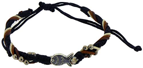 Solid Rock Jewelry Bracelet-Cotton Adjustable Friendship with Fish Bead